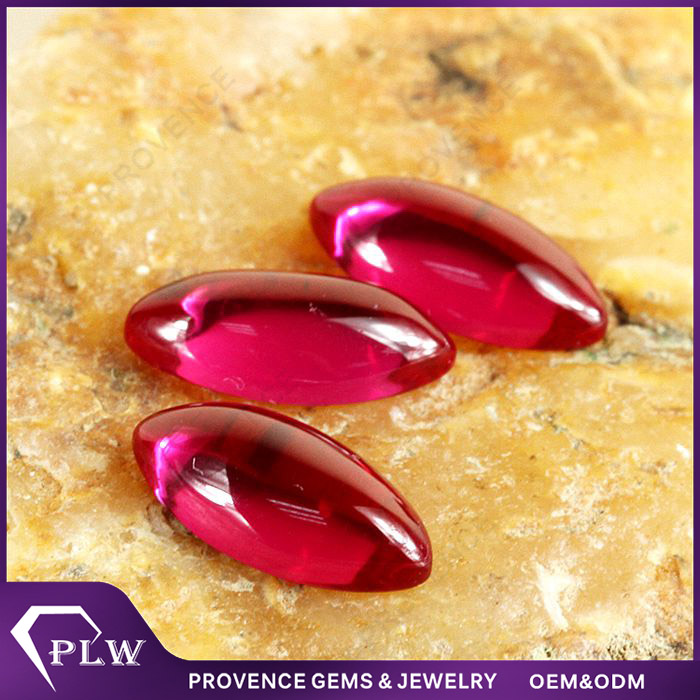 Wholesale Price Marquise Cabochon Synthetic Ruby Gemstone Pictures