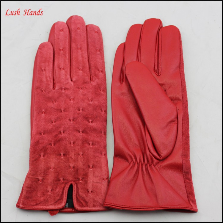 Genuine cheap red suede leather fashion gloves for lady