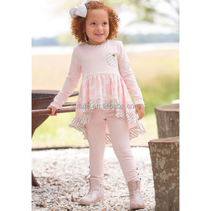 Hot sale soft baby girl clothes pink 2 pieces sets bulk wholesale boutique kids clothing