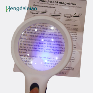 8 LED skid-proof handle glass & plastic hand-held magnifier