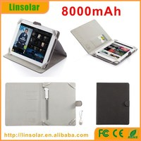 built in cable 8000mAh pu leather power bank for tablet PC