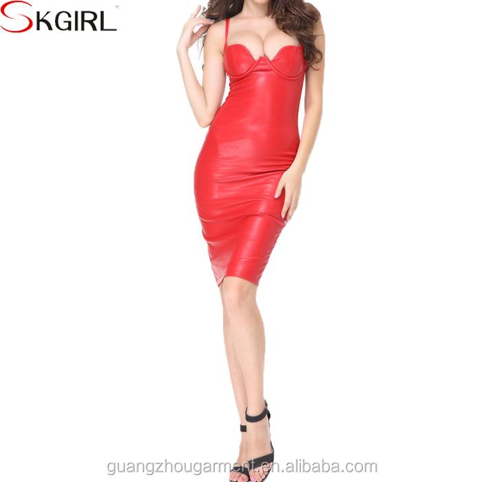 Venta de correas mayor mujer fiesta cuello Nueva de imitación maduras para mujeres de al cuero vestidos espaguetis de sexy ropa por bajo de r0Erq6
