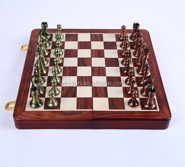 High quality classic wooden chessboard metal chess game