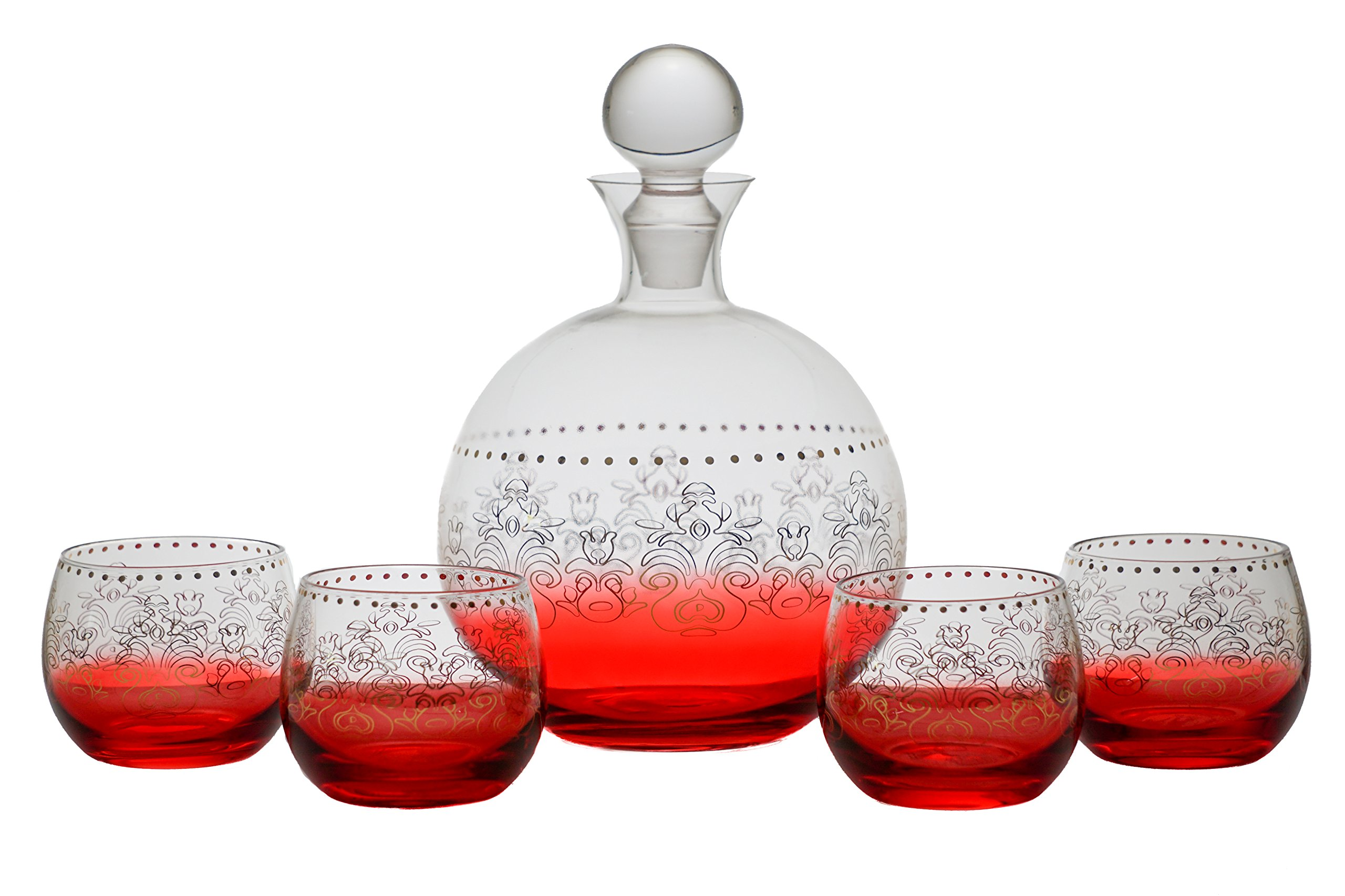 Tracy Porter Red And Gold 5 Piece Whiskey Decanter Set - Decanter With 4 Glasses