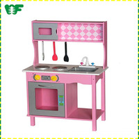 High quality colorful kids play toy wooden kitchen set