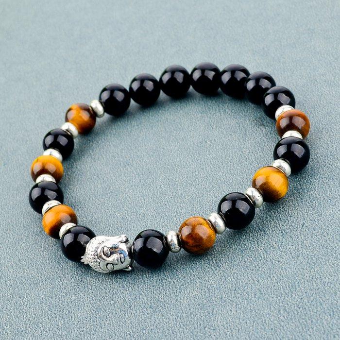 Longway moda grano de la piedra Natural negro pulsera para hombre pulsera cabeza de buda