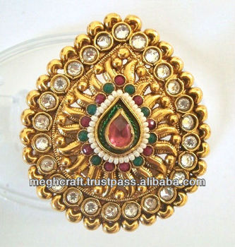 indian wedding rings kundan polki rings antique finger rings one gram gold rings - Indian Wedding Rings