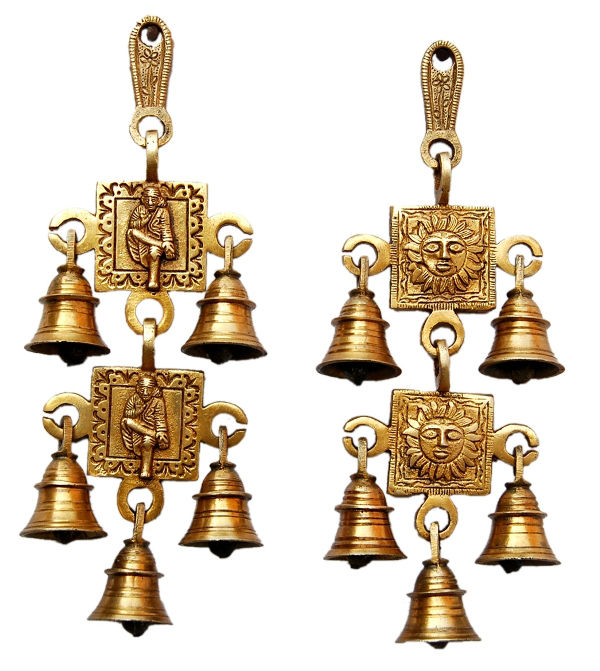 Lord Sai and Sun Face Brass Wall Hanging Chime with 2 Links and 5 bells