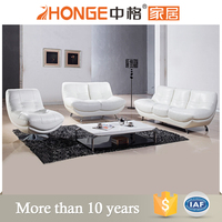 Modern Design Living Room White Leather Sectional Sofa With Stainless Steel Legs