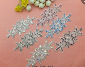 Floral Embroidery Design Crystal Rhinestone Applique For Wedding