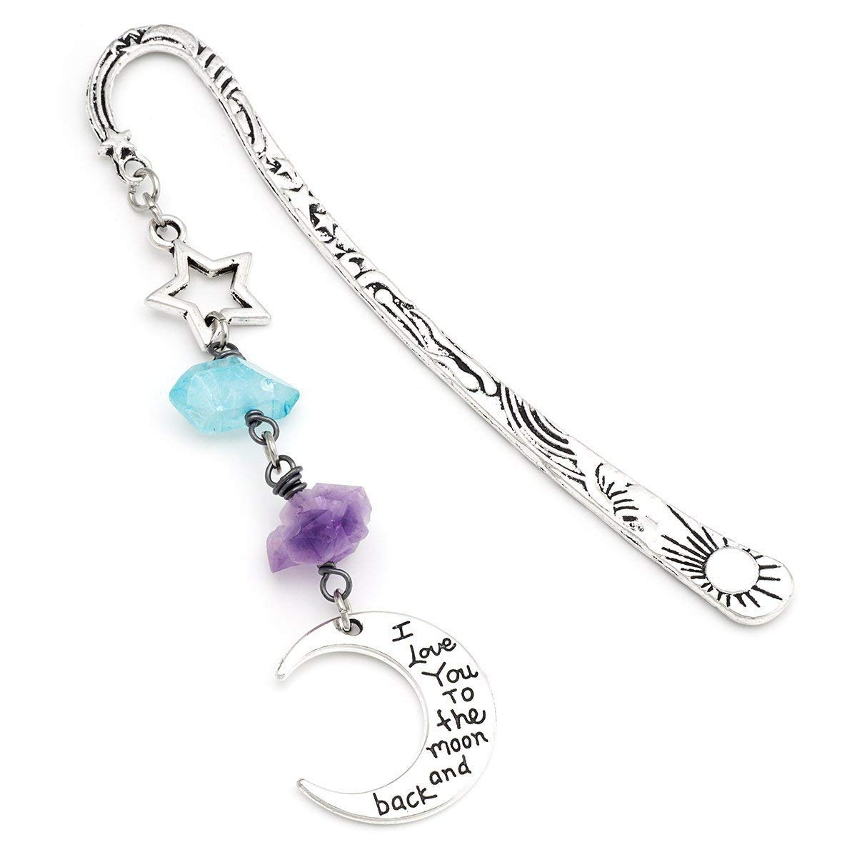 Silver moon and star amethyst blue aura quartz gemstone metal unique bookmark