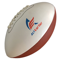 ActEarlier Sports Goods Official Size 9 White Brown Custom Logo PU Rugby Ball American Football ball for training