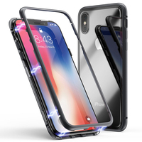 Magnetic adsorption cover Double sides front & back glass flip case for iphone x xr xs max 11 transparent ultra thin full cover