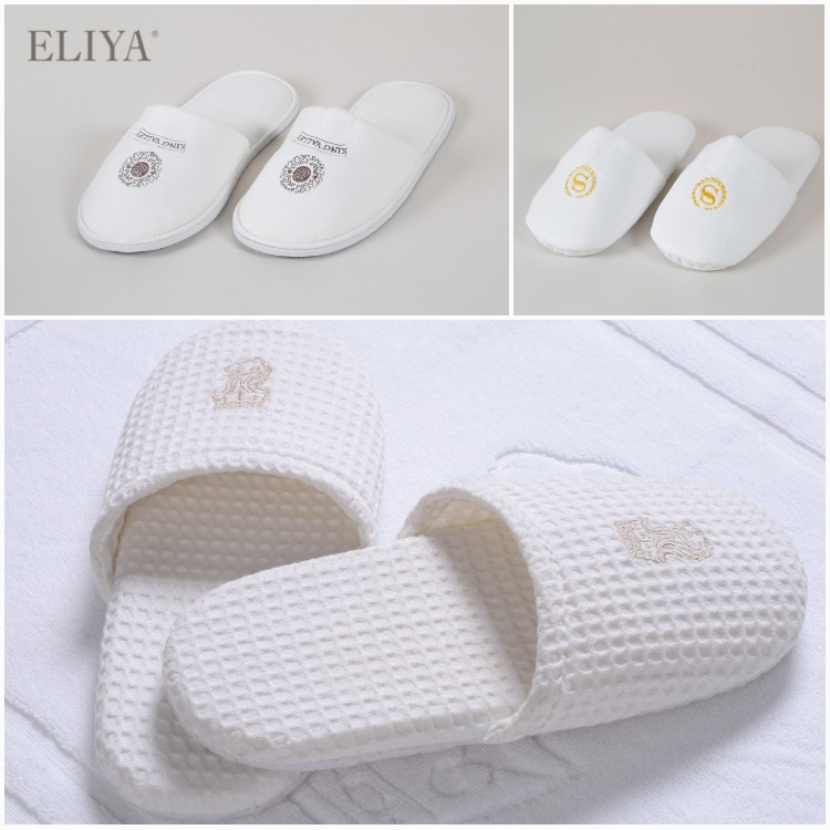 Wholesale White EVA Disposable Hotel Slipper With Embroidered Logo