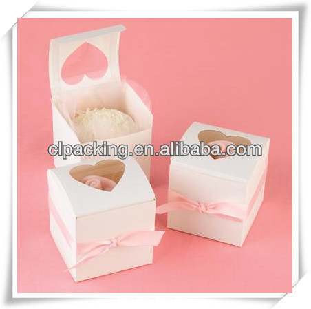 custom decorative cake box with pvc window for wedding