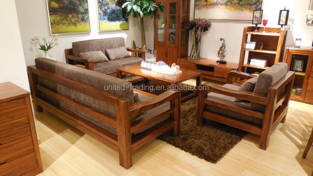 Home furniture living room solid wood sofa buy divan for Wood living room furniture