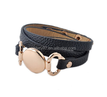 New Style Elegant Custom Engraved Monogram Leather Cuff Bracelet Blank Disc 3 Layer Wrap