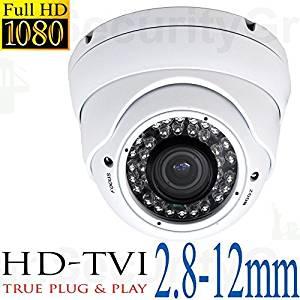 "USG Business Grade 1080P 2MP HD-TVI High Definition CCTV Dome Security Camera: 1920*1080 HD Resolution, 2.8-12mm Vari-Focal Lens, 36x IR LEDs For 100 Feet Night Vision, IR-Cut, WDR, Motion Detection, DNR, 1/3"" SONY IMX222 CMOS Image Sensor, NVP2421 TX ***** Simple Home or Business Plug & Play High"