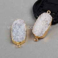 oval agate quartz stone druzy connector beads for jewelry making 18k gold plated