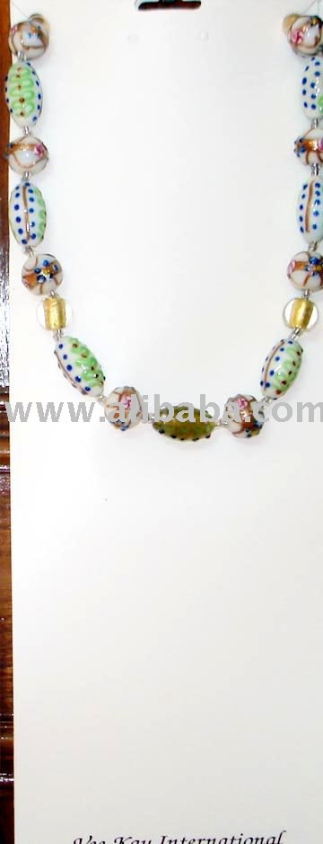 All Lampworked Candy White Beads With Gold Foil Centers! ! !