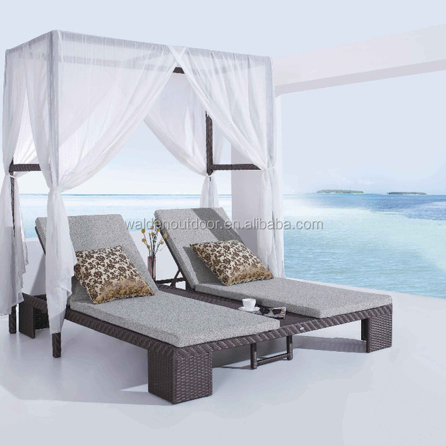 outdoor furniture mexico brown rattan beach chair double sun lounger with canopy shade - Runde Tagesliege Mit Baldachin