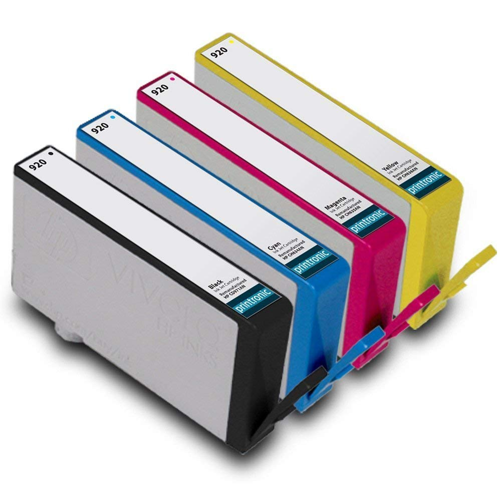 Printronic Remanufactured Ink Cartridge Replacement for HP 920 CD971AN CH634AN CH635AN CH636AN (1 Black 1 Cyan 1 Magenta 1 Yellow) 4 Pack for OfficeJet 6000 6500 7000 7500