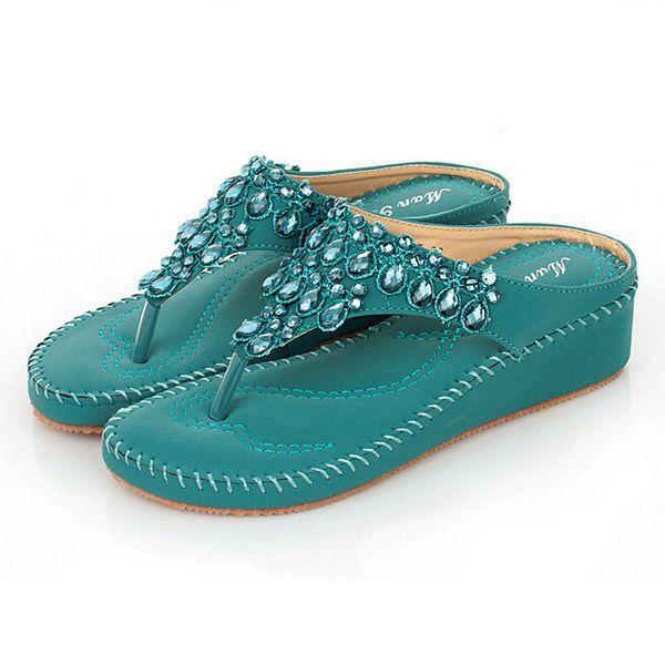 4d58540409562 Buy High quality Fashion Sweet Bohemia crystals rhinestone wedge heel  Sandals Women  39 s wedge Flip Flops Sandal Ladies summer Shoes in Cheap  Price on ...