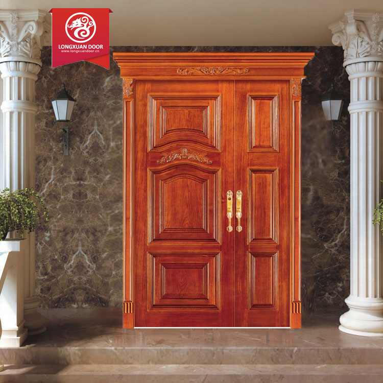 Solid exterior flat teak wood main double front entry door for Wooden door designs for houses