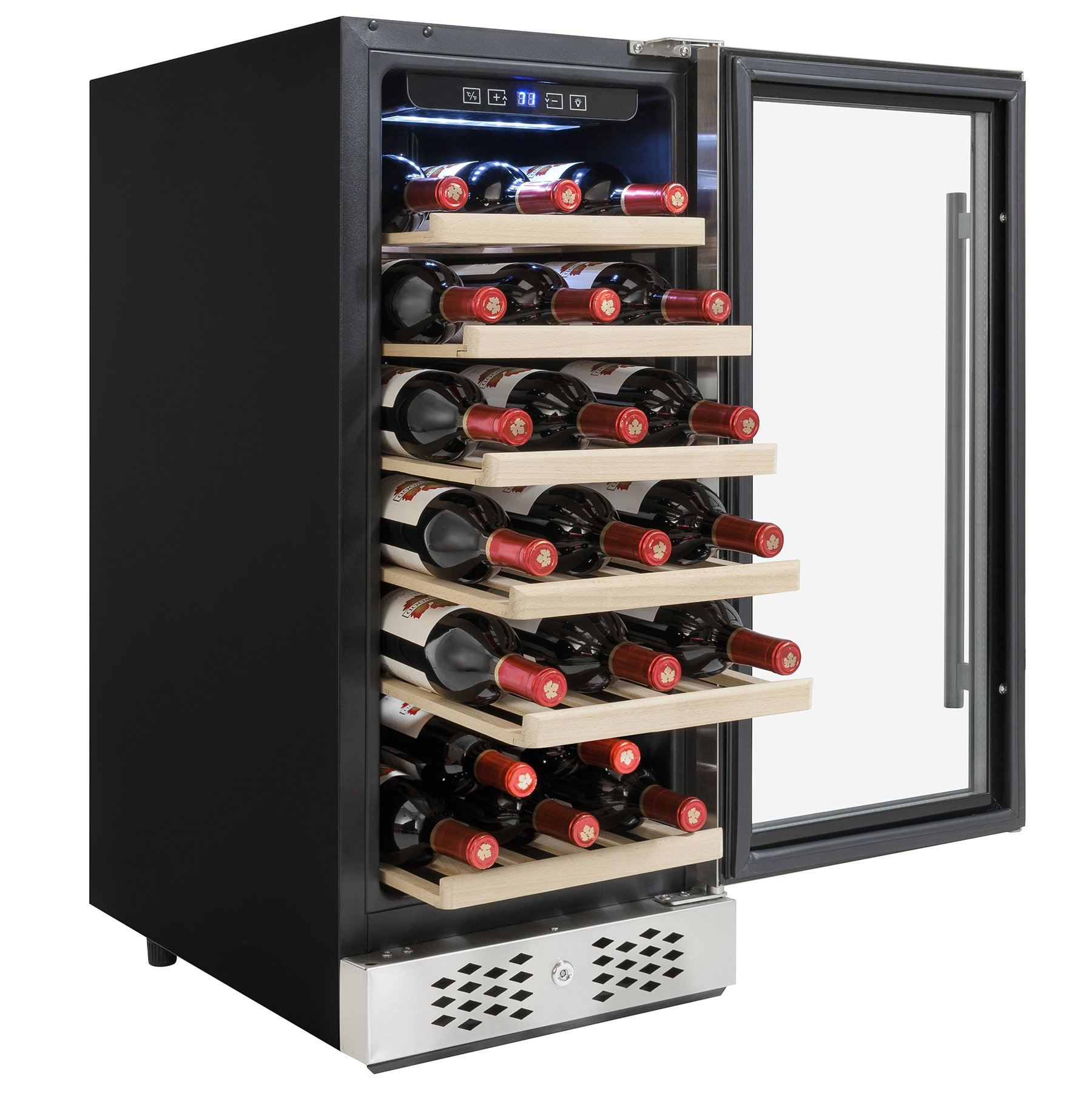 AKDY 30 Bottles Single Zone Adjustable Touch Control Freestanding Compressor Wine Cooler Cellar