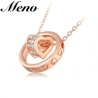 Austrian crystal jwelleries heart and ring circle double pendant gold diamond jewelry sets unisex necklace