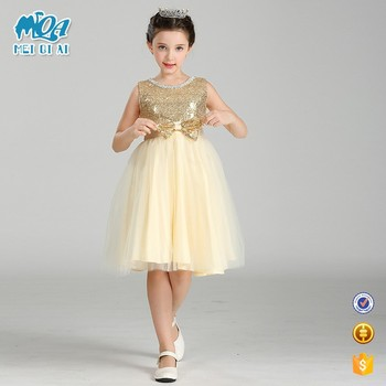 2017 New Arrival Kids Normal Simple Design Frock Girls Shinny