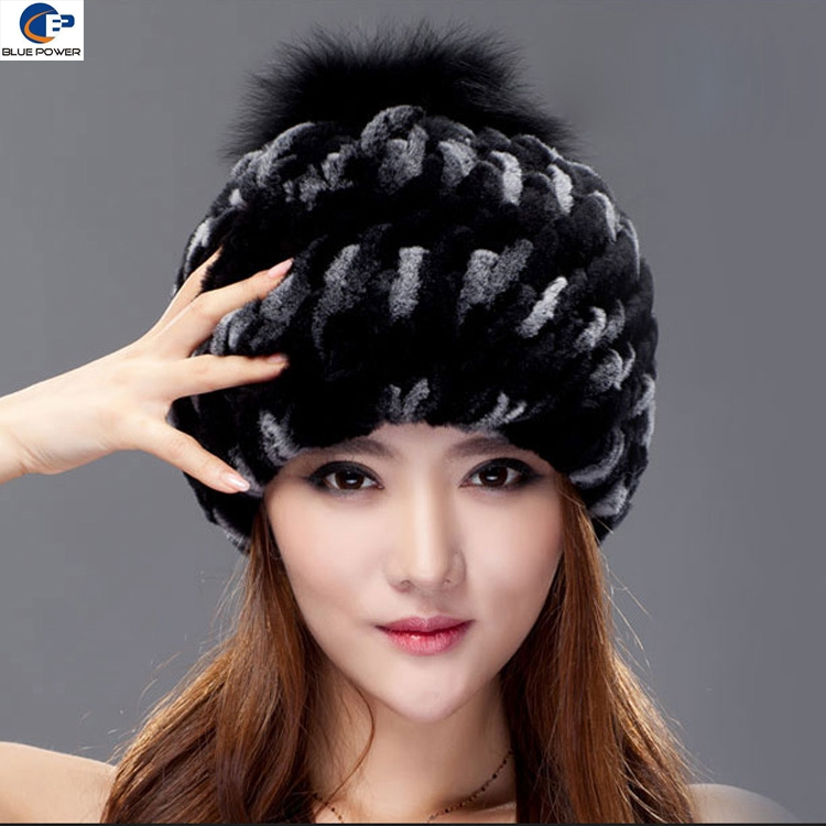 Fashion design real rex rabbit fur handmade winter ladies hat with and neck warmer dual purpose