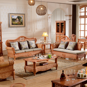 2015 High Quality Indoor bamboo Cane 123 sofa sets Vintage Rattan Furniture for salon