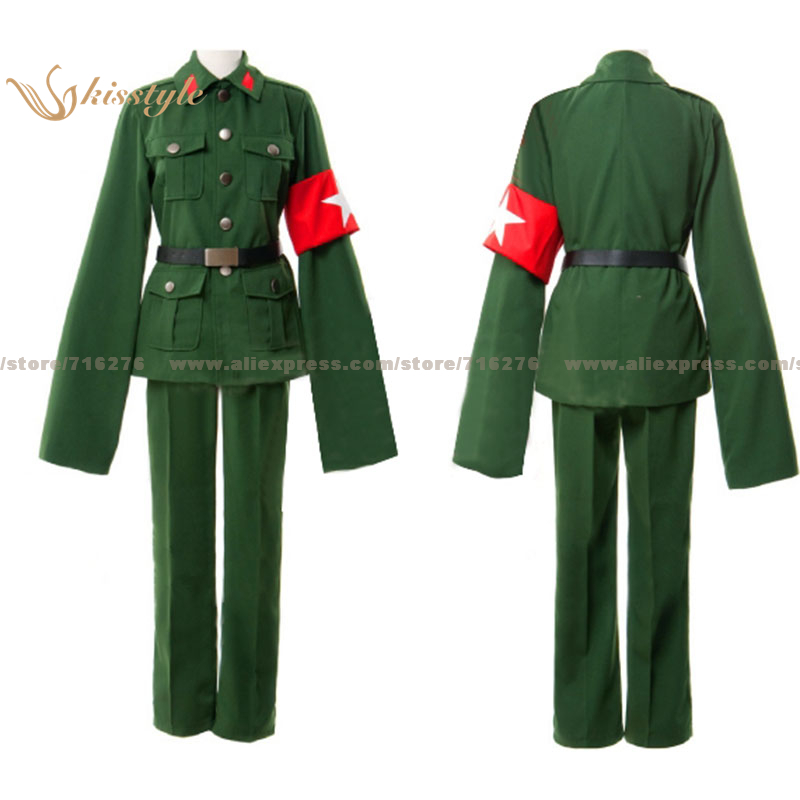 Kisstyle Fashion Hetalia: Axis Powers China Wand Yao Dark Green Uniform COS Clothing Cosplay Costume,Customized Accepted