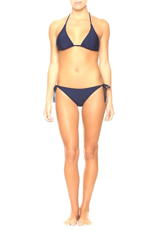 dd63ebe43557d Get Quotations · Momentum Navy Blue String Bikini Swim Suit Triangle Top  Bikini Bottoms 2 Piece Set Medium