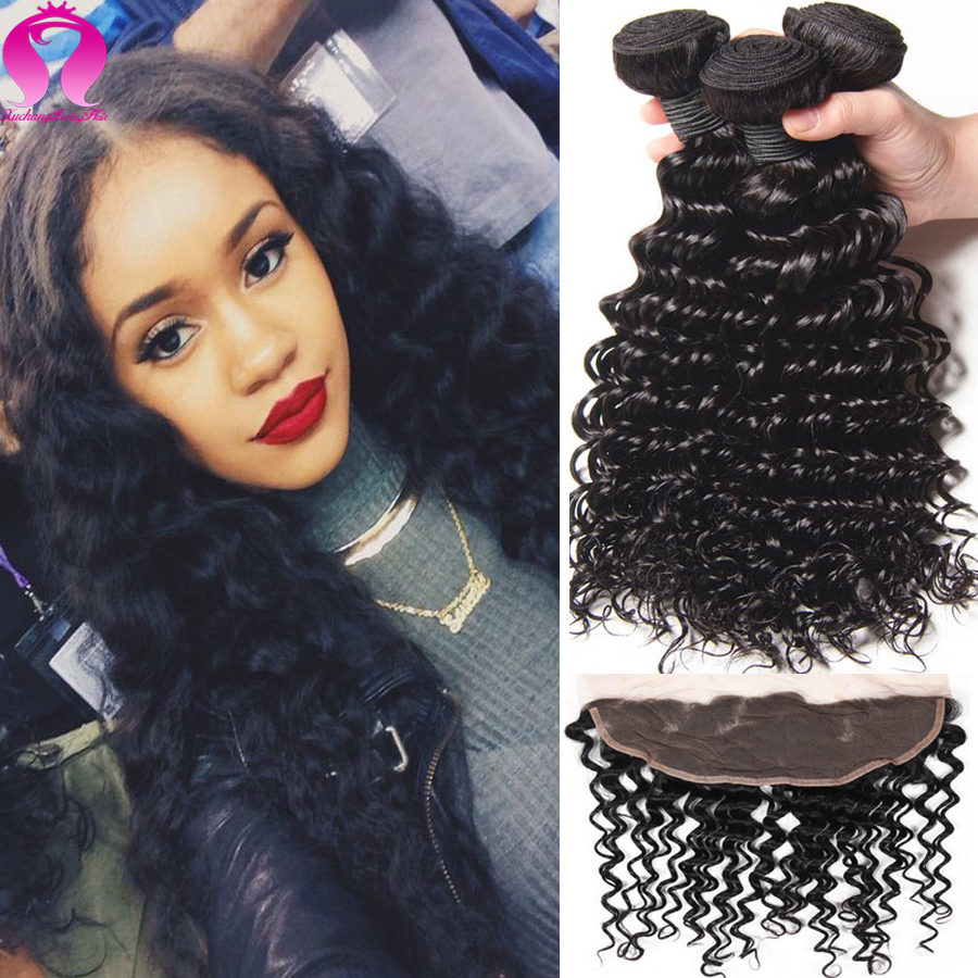 Brazilian Human Hair With Ear To Ear Closure Annabelle Hair Frontal Deep Wave With Closure Afro