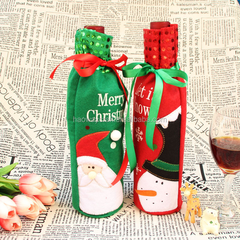 christmas shining wine bottle cover snow man santa claus christmas table decoration unique trendy gift