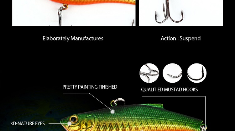 YH No129 VIB Fishing Lure Minnow Skinking Hard Bait Lures 73mm 19g