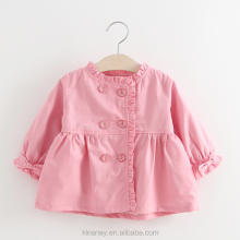 KS10513A New korean style plain solid color baby girls double breasted trench coat