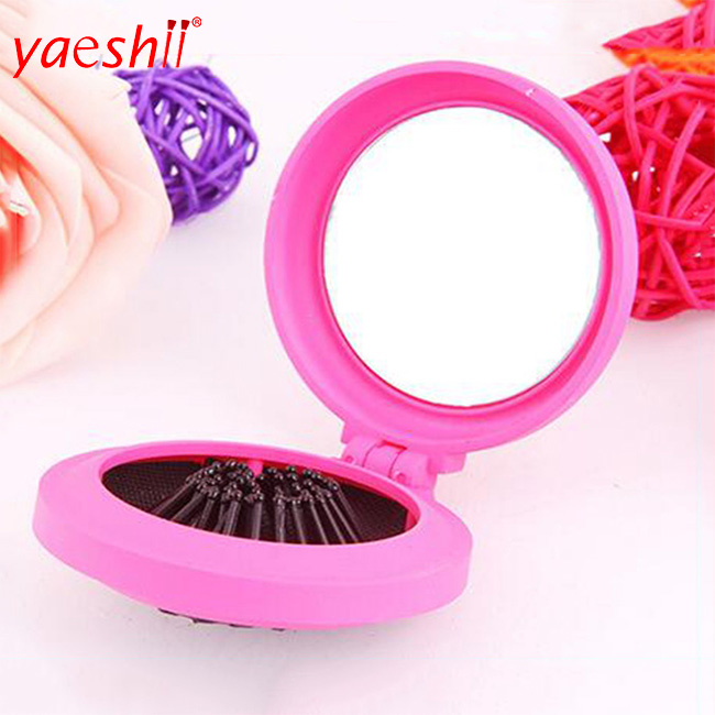 yaeshii Professional Magic Health Massage Brush Hair Comb Portable Round plastic mini folding hair brush with mirror