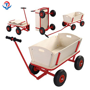 Foldable 4 Wheel Wooden Serving Wagon Beach Tool Toy Tea Cart