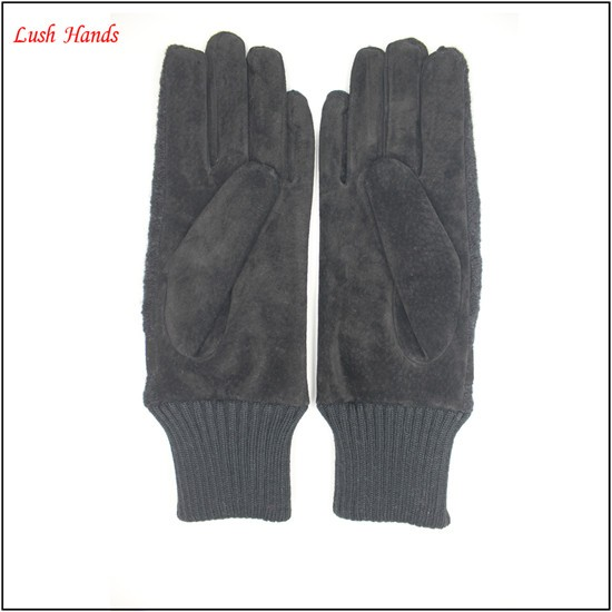 ladies's customized color and style pigsuede cheap leather gloves