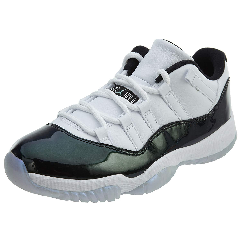 on sale c64ea 527b9 Get Quotations · Jordan Air 11 Retro Low Men s Basketball Shoes White Emerald  Rise Black 528895-