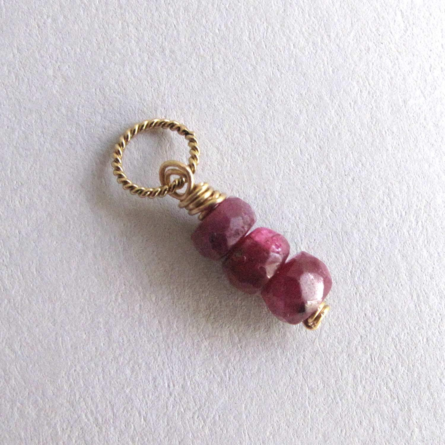 18-Inch Hamilton Gold Plated Necklace with 6mm Ruby Birthstone Beads and 5-Way Charm Red Ruby July Birthstone
