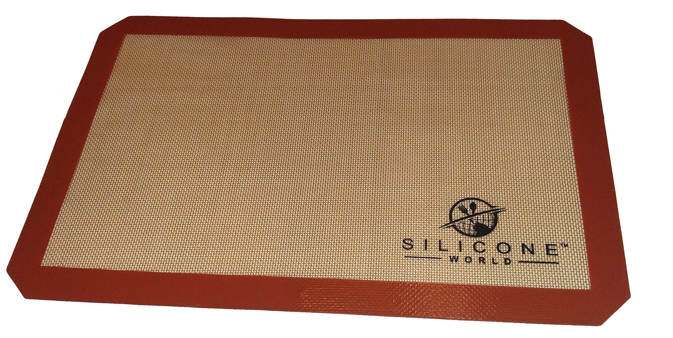 "Silicone World - Professional Grade Silicone Baking Mat - Incredible Reusable 1 Piece, Durable, Non-stick Fiberglass 11-5/8"" X 16-1/2"""