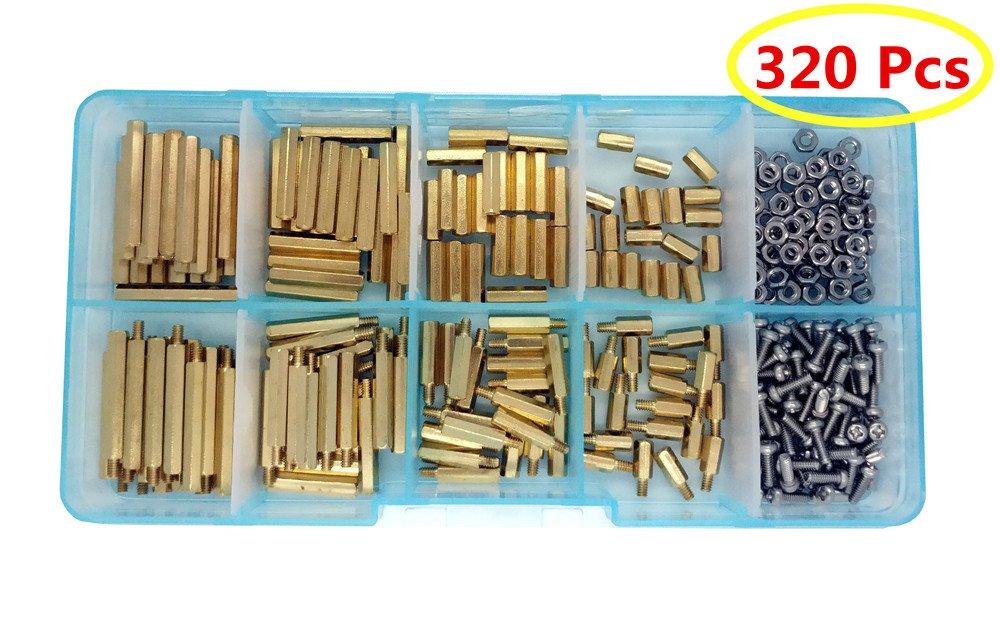 Guard4U 320pcs M2 Hex Male-Female Brass Spacer Standoff&Stainless Steel Screw Nut Assortment Kit (M2 Brass)