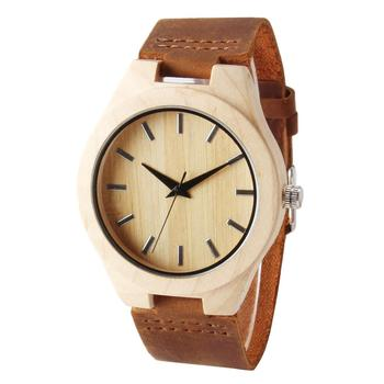 Brown Genuine Leather Strap Wooden Watches For Men And Women Quartz Clock Unisex Wrist Watches Comfortable Wearing