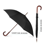 Top quality customized cheap 48 inch rain straight umbrella with wooden handle