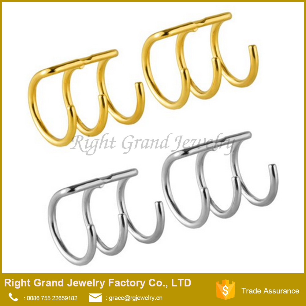 Stainless Steel Wrap Ear Cuff Fake Earring Ring Hoop Cartilage Clip