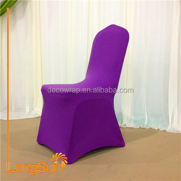 Purple wedding decoration round back chair cover, cheap universal wedding chair cover